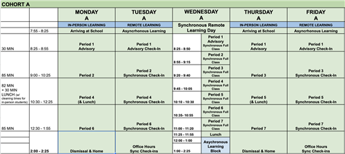 Schedule of meeting time for students in the A Cohort.