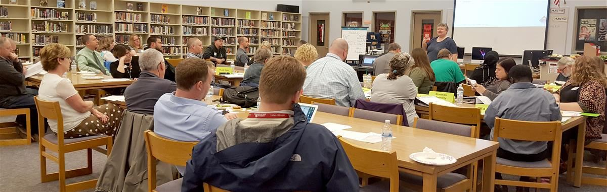 This is a photo of the Long Range Facilities Task Force meeting at Bethel High School in April 2017.