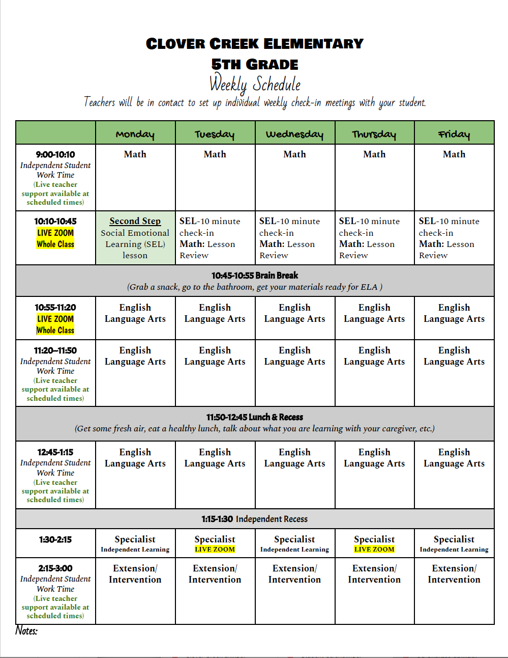 5th Grade Schedules