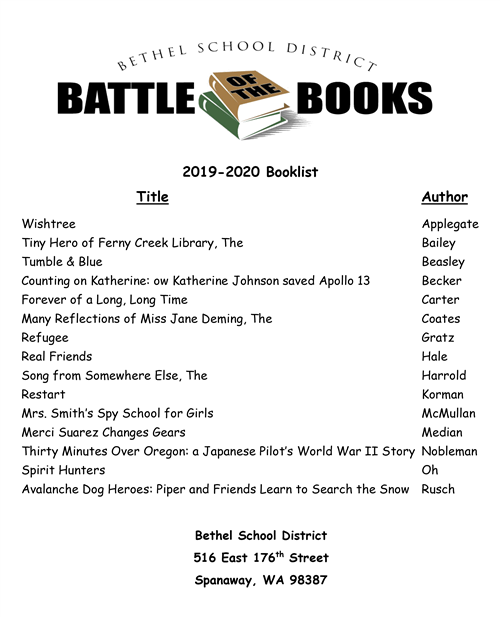Battle of the Books 2019-20