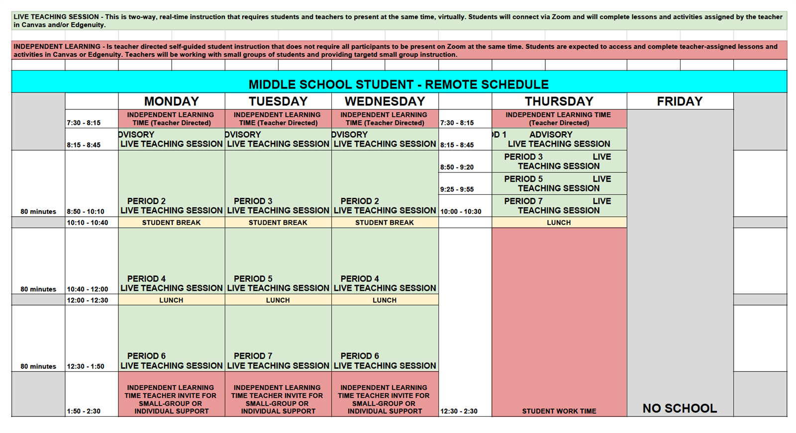 Revised MS Schedule