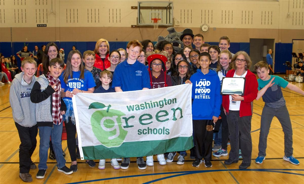 BMS students pose with the Washington Green Schools banner
