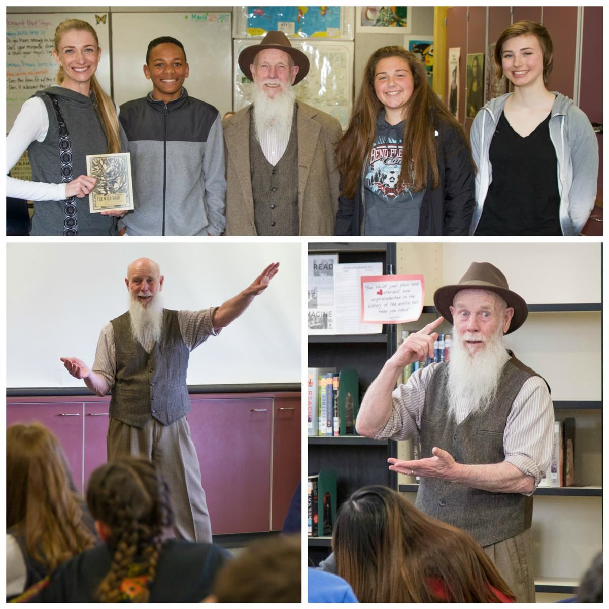 John Muir impersonator Lee Stetson performs for students at Frontier Middle School