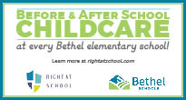 Graphic that says Before and After School childcare at all Bethel elementary schools