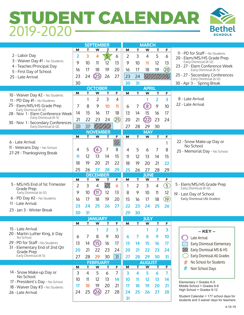 Seattle Public Schools Calendar 2020 District Calendars / Home
