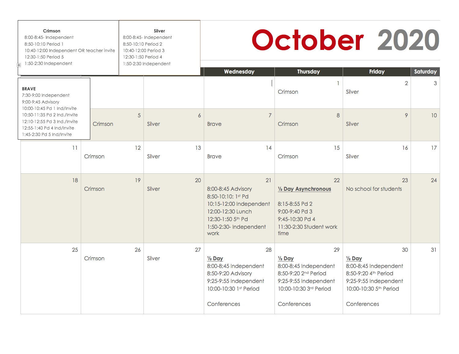 Updated October Schedule 2020