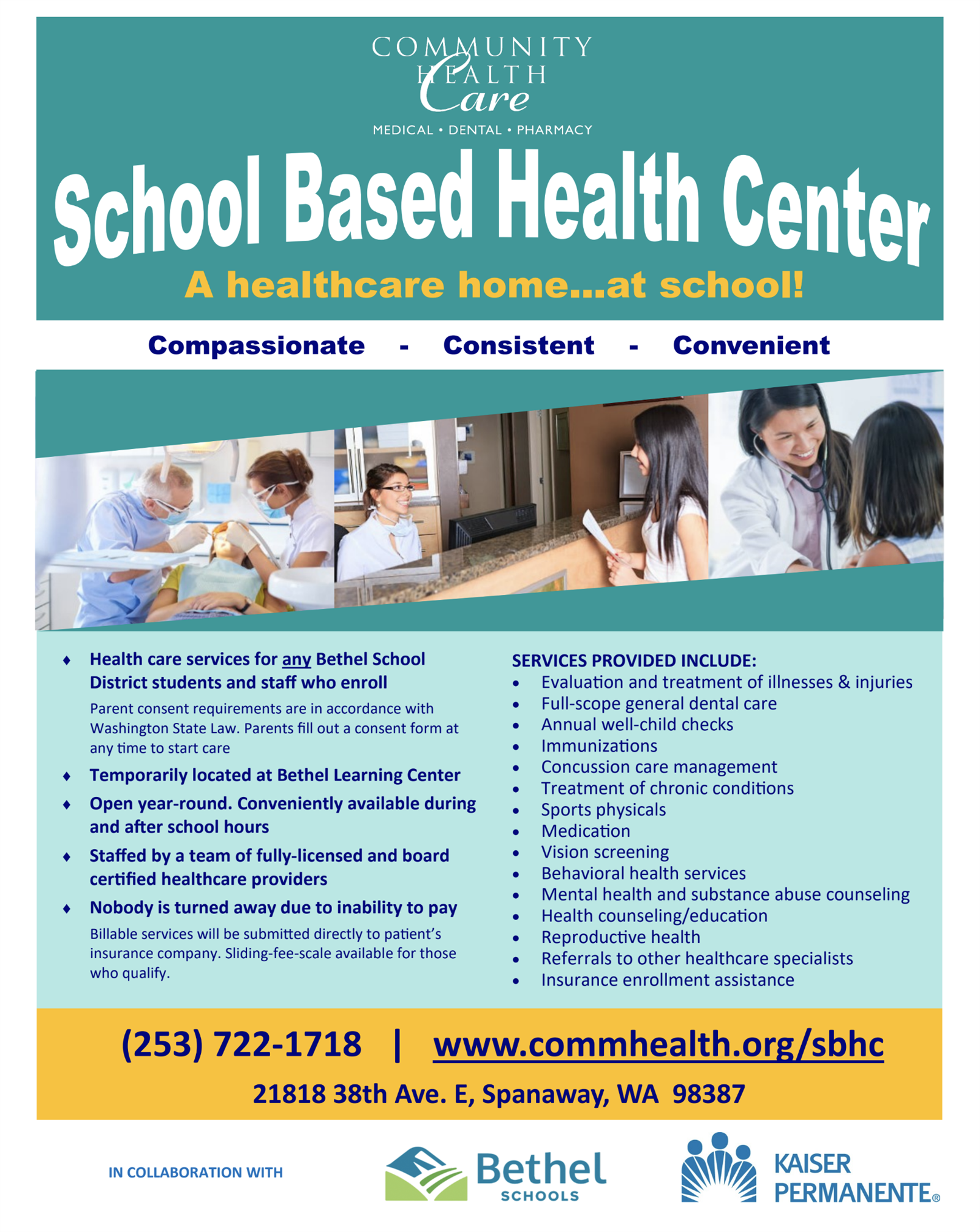 Flier for Community Health Care school based clinic