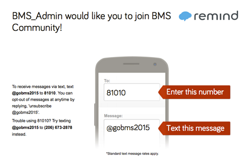Sign Up for our Remind Text Messages
